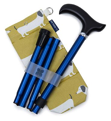 Blue Badge Co. Folding Walking Stick Navy Sausage Dog