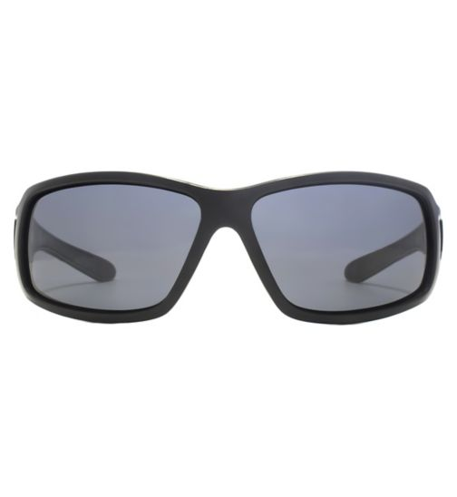 cb245fd45f64 Freedom Polarised Sunglasses Small Black Wrap With Duel Injected Temple