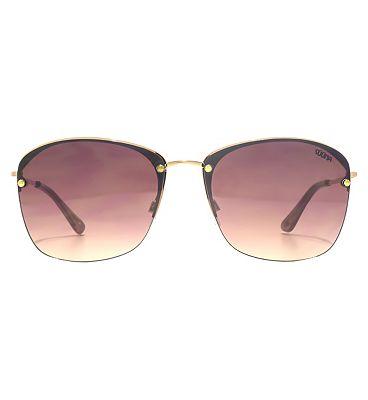 Suuna Women Sunglasses Modern Square Rimless On Shiny Metal Gold Frame