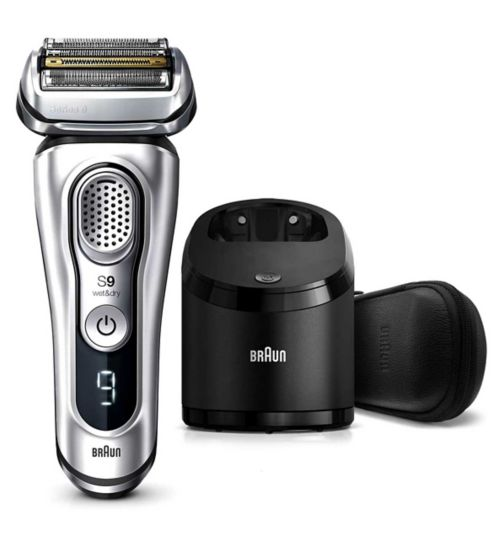 ff6a639c3 Braun Series 9 9390cc Latest Generation Electric Shaver, Clean&Charge  Station, Leather Case, Silver