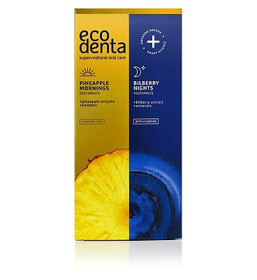 Ecodenta Pineapple Mornings and Bilberry Nights Toothpastes 2x100ml