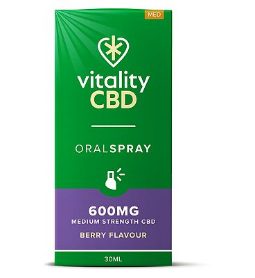 Vitality CBD 30ml Oral Spray 600MG Medium Strength CBD Berry Flavour
