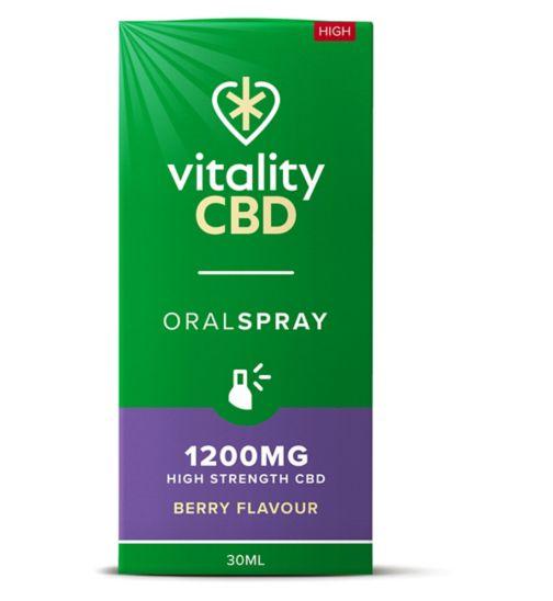 Vitality CBD 30ml Oral Spray 1200MG High Strength CBD Berry Flavour