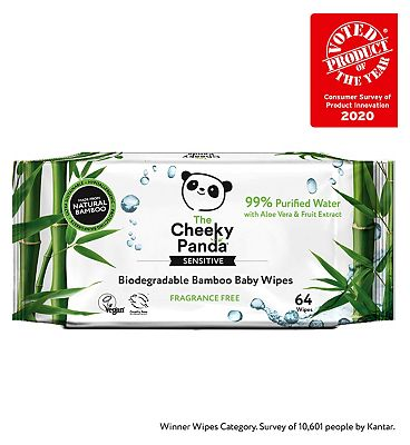 The Cheeky Panda Biodegradable baby wipes, single pack = 64 wipes