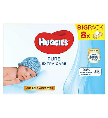 Pure Extra Care Baby Wipes, 1 Wicker Basket, 8x56 = 448 wipes