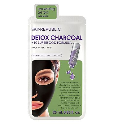 Skin Republic Detox 10 Superfood & Charcoal Face Sheet Mask 25ml