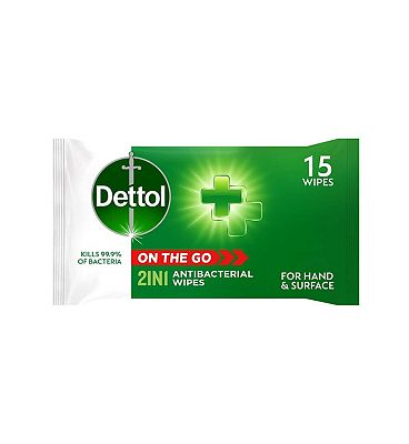 Dettol On the Go 2 in 1 Antibacterial Wipes x15