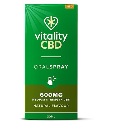 Vitality CBD 30ml Oral Spray 600mg Medium Stregnth CBD Natural Flavour