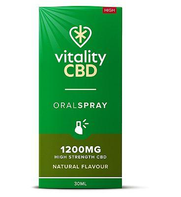Vitality CBD 30ml Oral Spray 1200mg High Strength CBD Natural Flavour