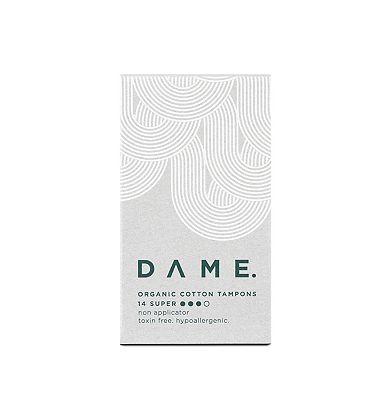 DAME Organic Non-applicator Super Tampons 14ct