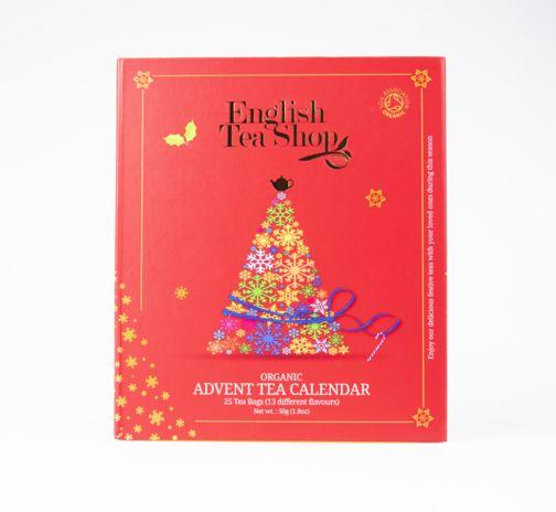 English Tea Organic Book Style Red Advent Calender 25 Tea Bags