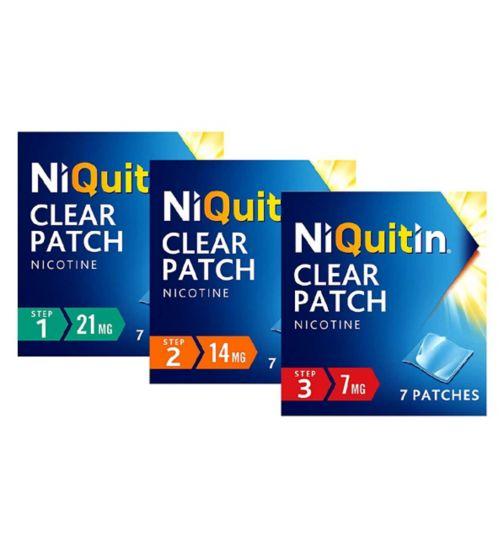 NiQuitin Clear 14 mg  7 Patches - Step 2;NiQuitin Clear 21 mg 7 Patches - Step 1;NiQuitin Clear 21mg Patches - Step 1;NiQuitin Clear 7 mg 7 Patches - Step 3;NiQuitin Patches 10 Week Bundle - Steps 1, 2 & 3;Niquitin Clear 14mg Patches - Step 2;Niquitin Clear 7mg - Step 3