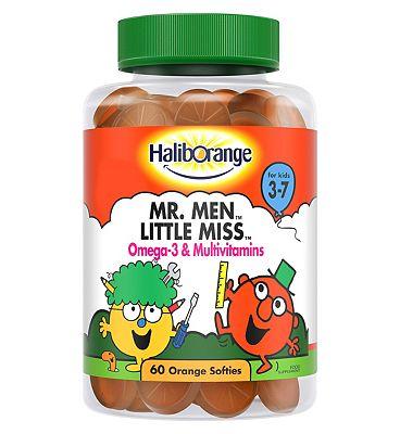 Haliborange for Kids 3-7 Mr. Men Little Miss Omega-3 & Multivitamins - 60 Orange Softies