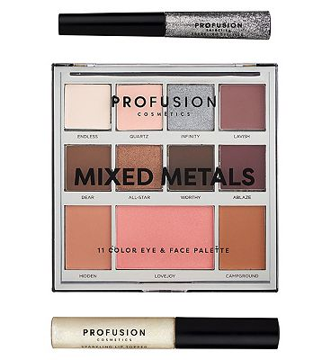 Profusion Mixed Metals Eye & Face Rose Palette Silver Chrome