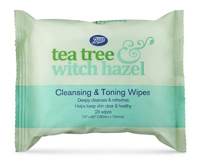 Boots Tea Tree & Witch Hazel Cleansing & Toning Face Wipes 25s