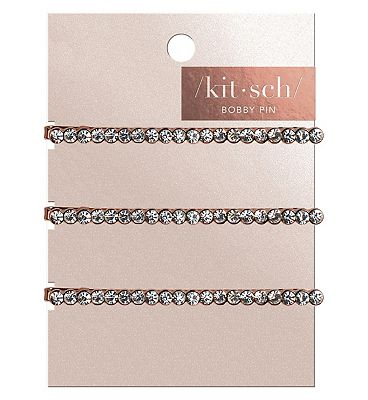 Kitsch Rhinestone Bobby Pin Rose Gold 3 Pc Set