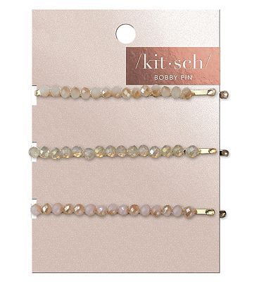 Kitsch Beaded Bobby Pins Blush Mauve 3 Pc Set