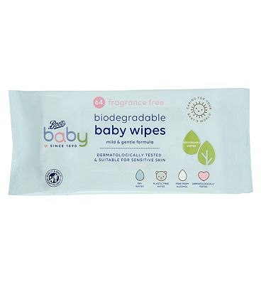 Baby Fragrance Free Biodegradable soft baby wipes, single pack = 64 wipes