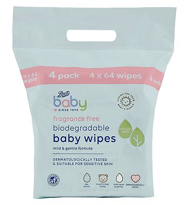 Baby Biodegradable Fragrance Free soft baby wipes, 64x4 pack = 256 wipes