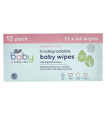 Baby Fragrance Free Biodegradable soft baby wipes, 64x12 pack = 768 wipes