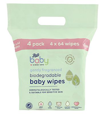 Baby Fragranced Biodegradable soft baby wipes, 64x4 pack = 256 wipes