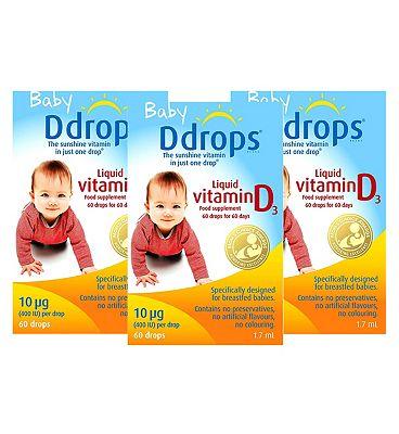 Baby Ddrops Liquid Vitamin D3 x 3 Bundle