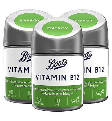 Image of Boots Vitamin B12 10ug Bundle: 3 x 60 Tablets (6 month supply)