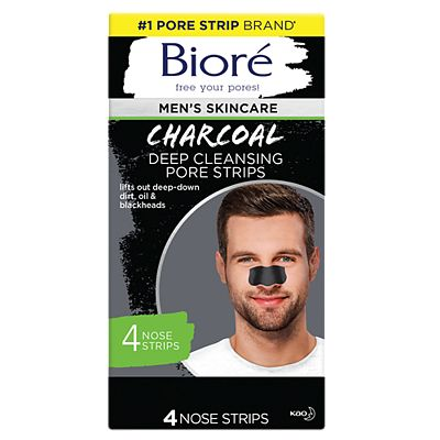 Bior Men's Charcoal Deep Cleansing Pore Strips 4 Nose Strips For Normal To Oily Skin