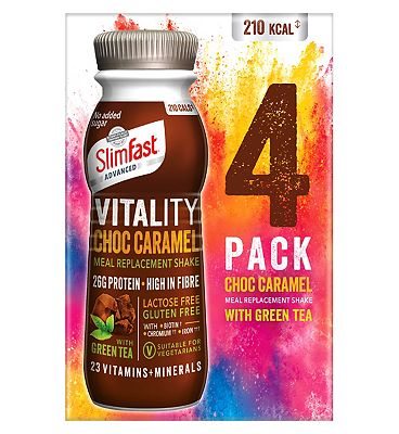 SlimFast Advanced Vitality Choc Caramel Meal Replacement Shake - 4 pack