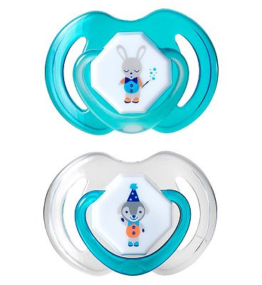 Nuby Day and Night Dummies 0-6 months Twin Pack - Blue/Green