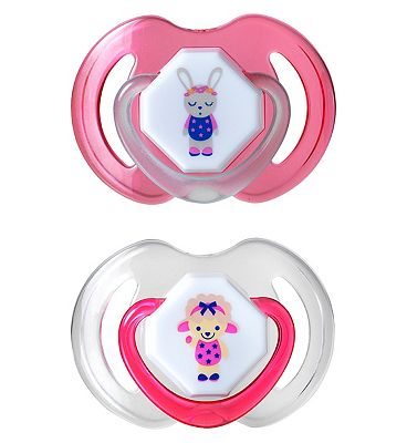 Nuby Day and Night Dummies 0-6 months Twin Pack - Pink/Green