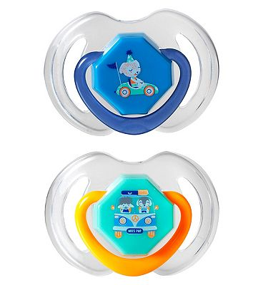 Nuby Day and Night Dummies 6-18 months Twin Pack - Blue/Orange