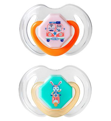 Nuby Day and Night Dummies 6-18 months Twin Pack - Pink/Orange