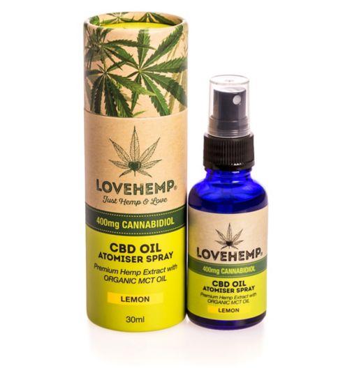 Love Hemp 400mg Cannabidiol CBD Oil Atomiser Spray Lemon 30ml