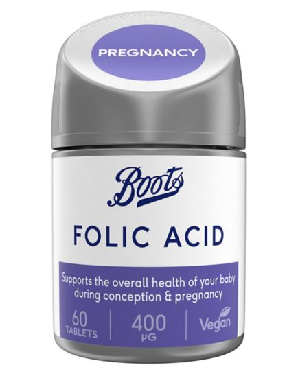 Boots Folic Acid 400ug 60 Tablets (2 month supply)