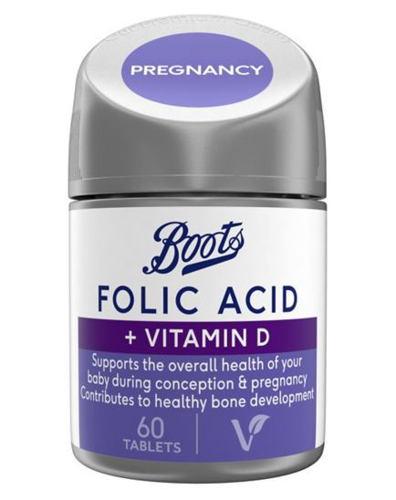 Boots Folic Acid + Vitamin D 60 Tablets (2 month supply)