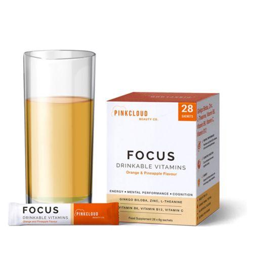 Pink Cloud Focus Drinkable Vitamins Orange & Pineapple Flavour 28 Sachets