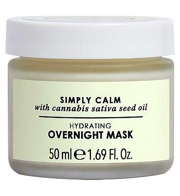 Botanics Simply Calm Hydrating Overnight Mask with Cannabis Sativa (Hemp) Seed Oil 50ml