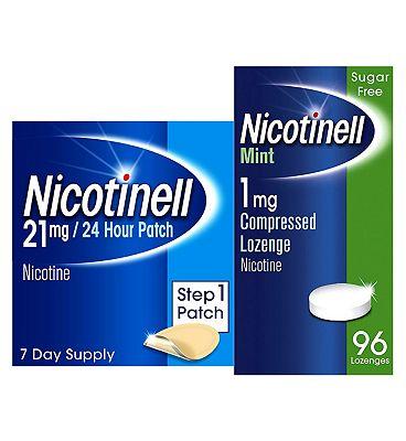 Nicotinell Mint Lozenge 1 mg 96 Pieces & Step 1 21 mg Patch Bundle