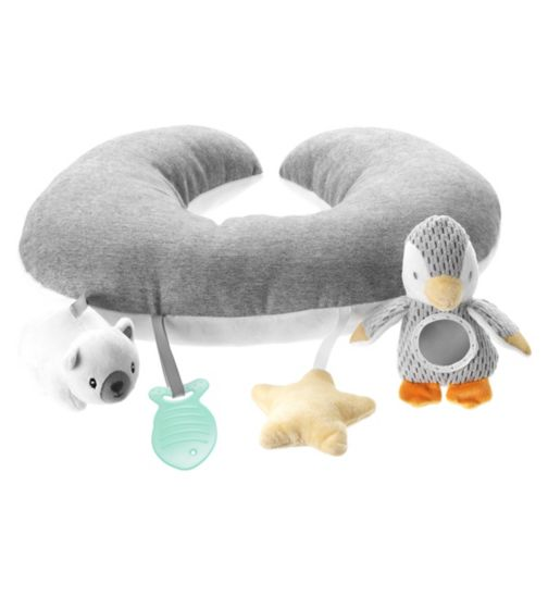 Nuby Penguin Tummy Time Pillow - Grey and White