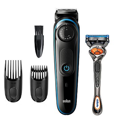 Braun Beard Trimmer BT3240 Men Beard Trimmer & Hair Clipper, 39 Length Settings, Black/Blue