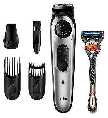 Braun Beard Trimmer BT5260 Men Beard Trimmer & Hair Clipper, 39 Length Settings, Black/Silver Metal