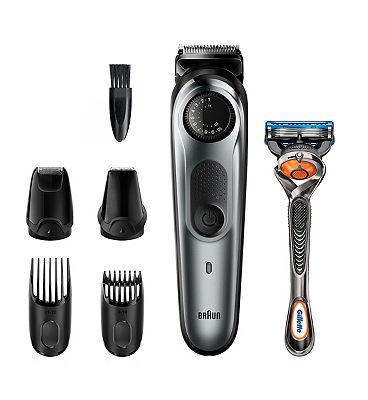 Braun Beard Trimmer BT7220 Men Beard Trimmer & Hair Clipper, 39 Length Settings, Black/Grey Metal