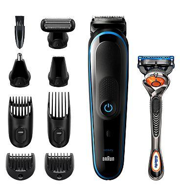 Braun 9-in-1 MGK5280 Men Beard Trimmer, Body Grooming Kit & Hair Clipper, Black/Blue