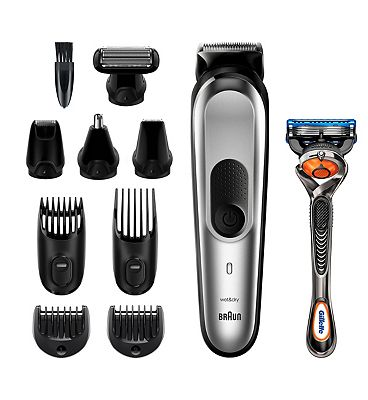 Braun 10-in-1 MGK7220 Men Beard Trimmer, Body Grooming Kit & Hair Clipper, Silver Grey