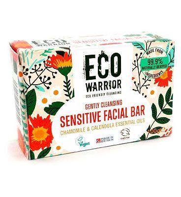 Eco Warrior Gently Cleansing Sensitive Facial Bar - Chamomile & Calendula Essential Oils 100g