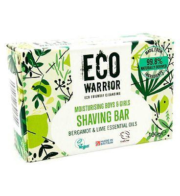 Eco Warrior Moisturising Boys & Girls Shaving Bar - Bergamot & Lime Essential Oils 100g