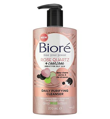 Bior Rose Quartz & Charcoal Daily Purifying Face Wash Cleanser 200ml for Oily Skin