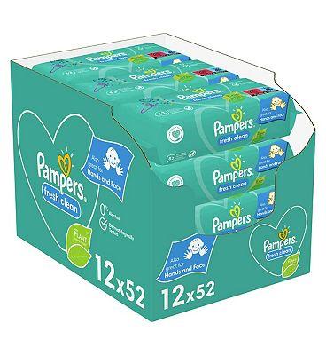 Pampers Fresh Clean Baby Wipes 12 Packs = 624 Wipes