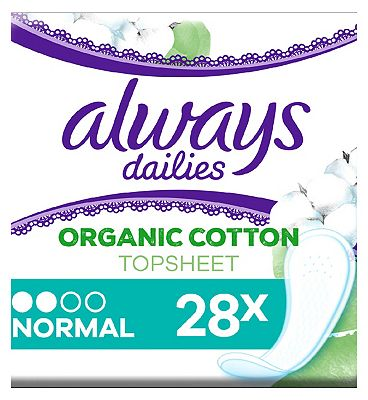 Always Dailies Cotton Protection Incontinence Panty Liners Normal x 28